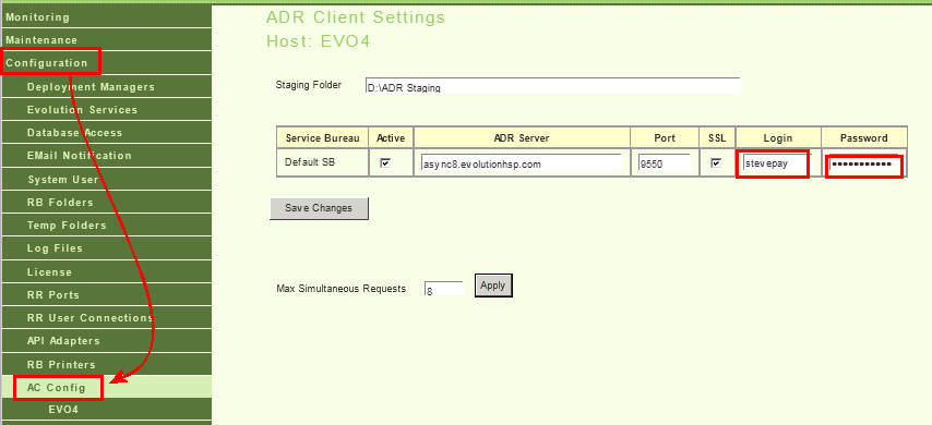 Evo MC showing ADR client config