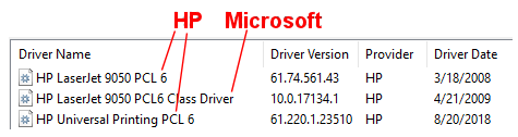 Always use Universal PCL drivers for HP Printers